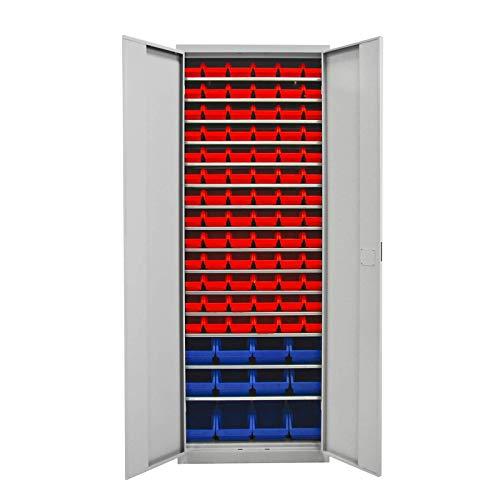 ADB Werkstattschrank Werkzeugschrank Metallschrank mit 90 Stapelboxen 15 Fachböden Magazinschrank...