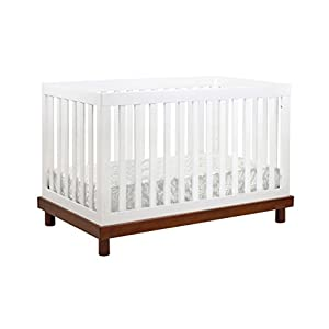 BABY MOD Olivia 3-in-1 Convertible Crib in Amber and White
