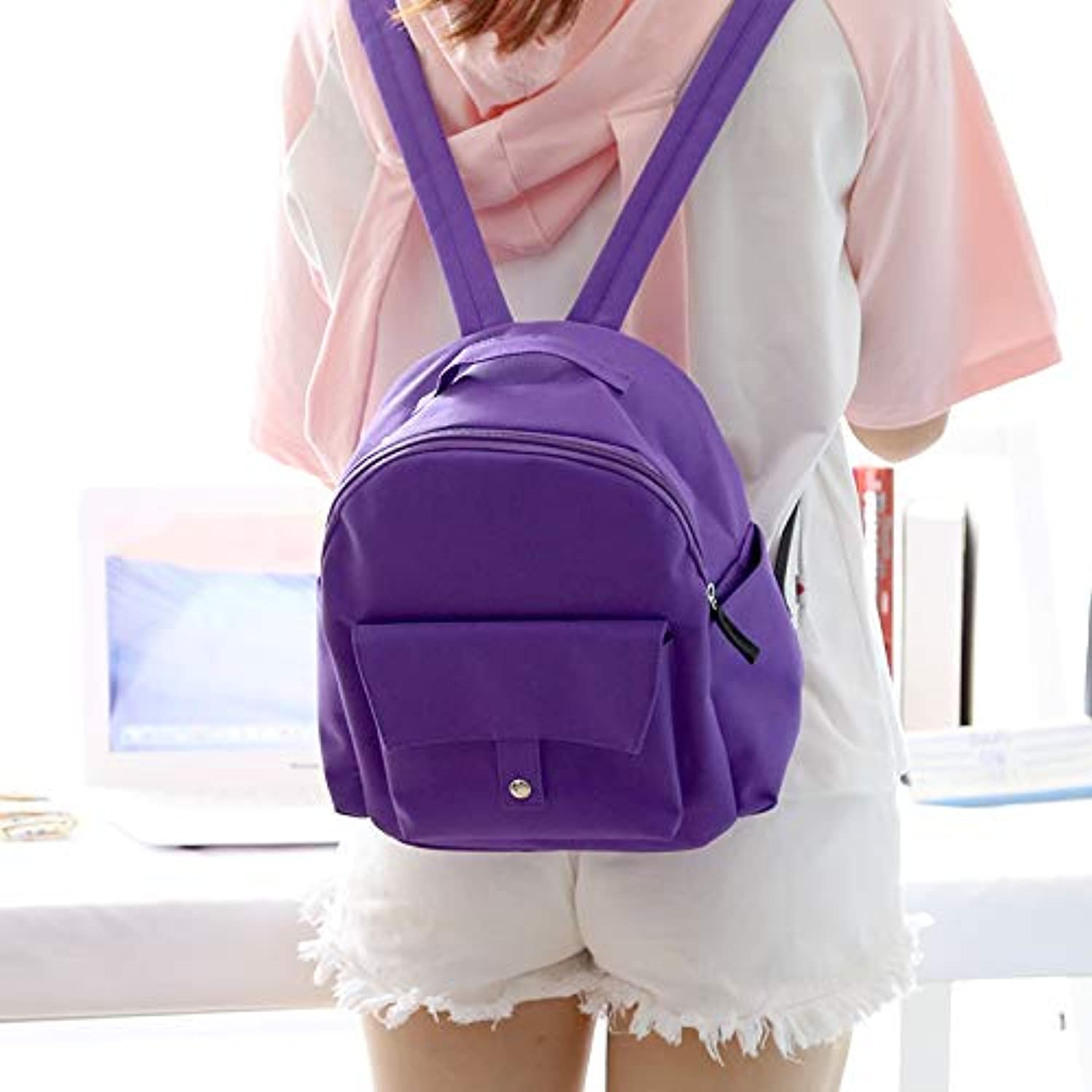 Solid color Mini Fresh Small Backpack Female Double Shoulder Bag Female Wild Double Shoulder Bag Female
