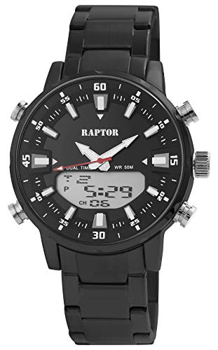 Raptor Shark Herren-Uhr Edelstahl Leuchtzeiger Datum Analog Digital Quarz RA20304
