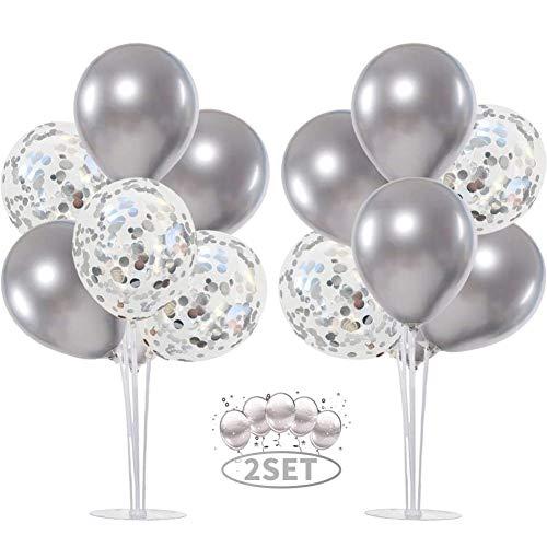 Balloon - Soporte de mesa transparente,Globos Claros Soporte Holder con 16 Globos,para globos de fiesta de cumpleaños y decoración de boda (Plata)
