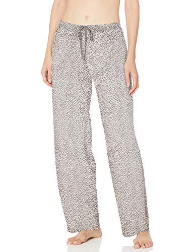 HUE Women's Printed Knit Long Pajama Sleep Pant, Off White-Rita Cheetah, Medium