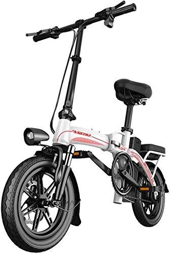 Bici electrica, Bicicletas for Adultos Plegable eléctricos Comfort Bicicletas Bicicletas híbrido reclinada/Road de 14 Pulgadas, batería de Litio 30Ah, Frenos de Disco, for los Adultos, Mujeres de lo