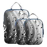 Organizadores de embalaje para equipaje Art Grey Music Note Juego de cubos de embalaje en blanco y negro Bolsas de embalaje expandibles Cubos para viajes Para equipaje de mano, viajes (juego de 3)