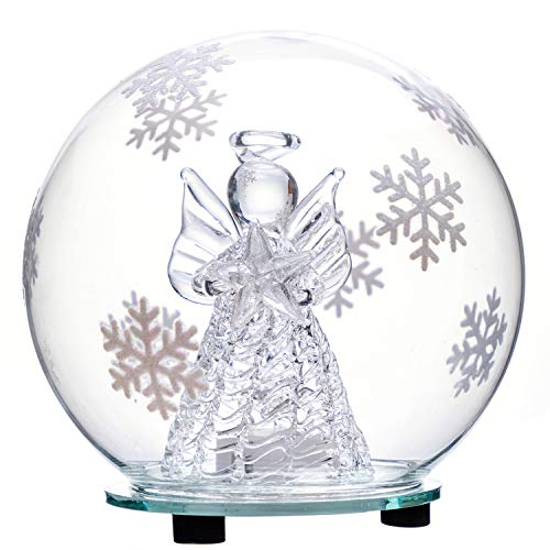 jollylife Christmas Angel Snow Globe Decorations - Color Changing LED Glass Ornament Decor