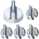 DIKOO 5 Pack W10594481 Range Replacement Knobs - Stainless Steel Cooker Stove Control knobs Replaces Whirlpool WPW10594481, AP6023301, 3281332, W10594481, W10698166, PS1175