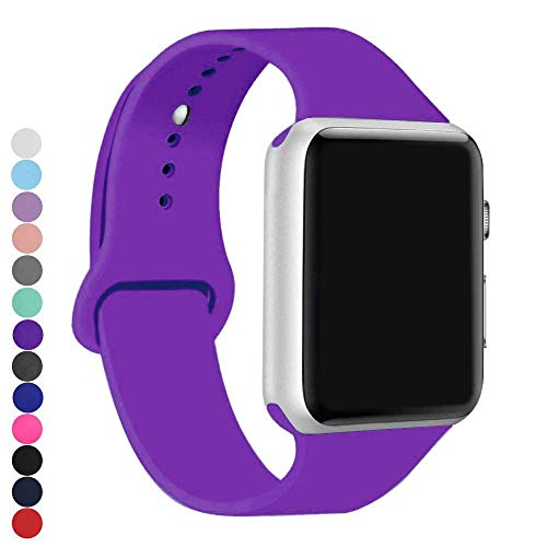 a8Miss Sport Band Compatible for Apple Watch 38mm 42mm Series 1, Series 2,Series 3 or 40mm 44mm Series 4(42mm(44mm) S/M,Purple)