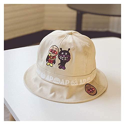 夏のアンパンマンバケツの帽子子供のための屋外の刺繍キャップ旅行の日焼け止めの帽子 (サイズ : 48 52CM,ベージュ)