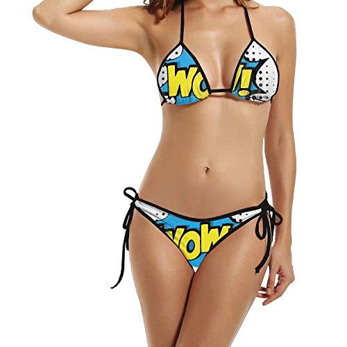 Women Wow Star Comic Voice Pop Art Stylish Bikini Swimsuit Summer Beach Bathing Suits Push Up Brazilian Suit 2 Piece