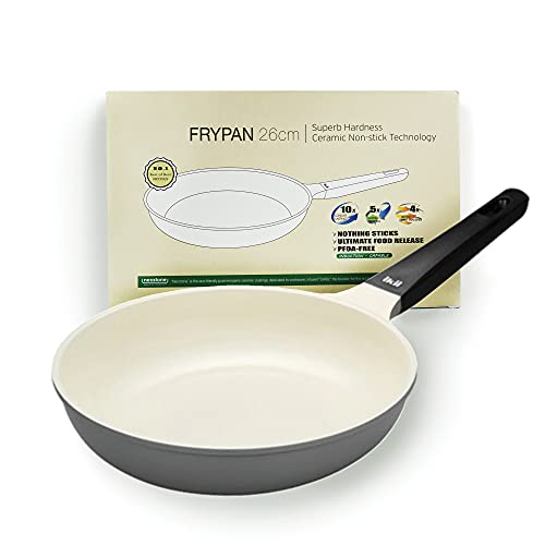 Tomnada Non-Stick Ceramic Coated Aluminum Die-Cast Durable Hardness Korean Cookware Fry Wok Grill Pan Induction Capable PFOA/PTFE/VOC/Heavy-Metal FREE (10.25 Inch Frypan)
