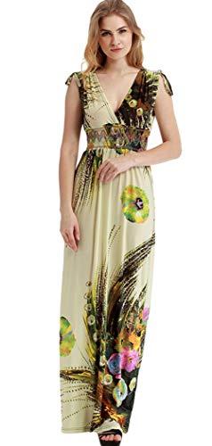 Rolansica Damen Kleider Sommer Sommerkleid Maxikleid Wickelkleid Damen Boho Maxikleid Maxi Kleid Blumenkleid Lang Mit Schwarz Blumen