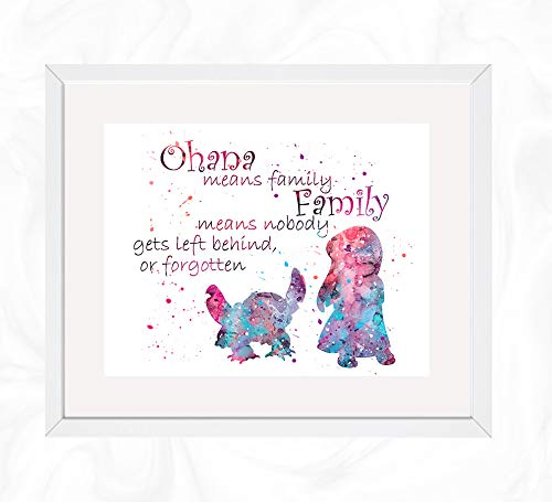 Lilo and Stitch Ohana Quote Prints, Lilo & Stitch Disney Watercolor, Nursery Wall Poster, Holiday Gift, Kids and Children Artworks, Digital Illustration Art