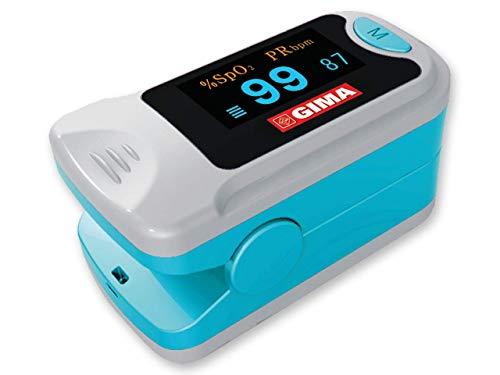 GIMA SATURIMETRO OXY-3 | Pulsossimetro da dito portatile professionale, misura il livello di ossigeno nel sangue e il battito cardiaco. 2 pile incluse, display SpO2 orientabile