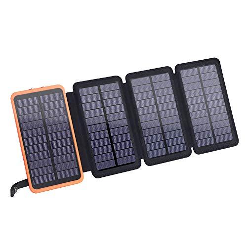 Cargador Solar Power Bank, Portatil Cargador Solar 25000mAh con 2 Puertos USB Y Fuerte Antorcha LED Batería Externa Solar Batería de Emergencia Cargador Solar para Smartphones Samsung iPhone Y Tablet