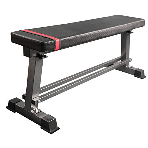 Fitness Bench Weight Lifting Gym Home Workout Bench Utility Bench Flat - Red and Black