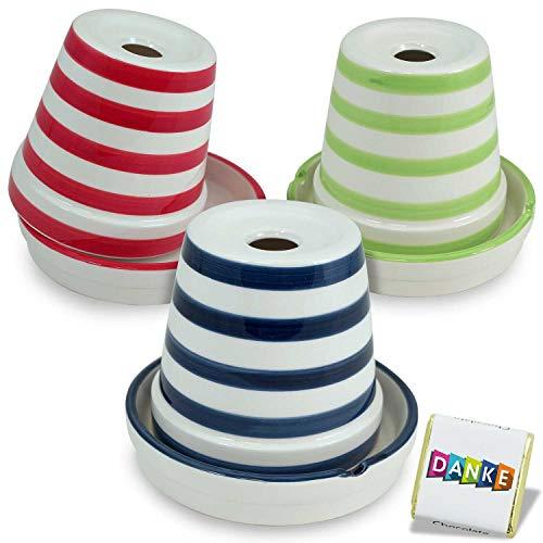 Cenicero con diseño de rayas para exteriores (3 unidades, 12 cm de diámetro, apto para lavavajillas, tamaño XXL)