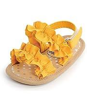 MAHUAOYIXI Bambina Completi 2 Pezzi Sandali Neonate + Fascia Fiori Scarpine Bimba Antiscivolo Elegante Scarpe Estive Prima Infanzia da 0-18 Mesi Compleanno Matrimonio Cetrimonia Principessa