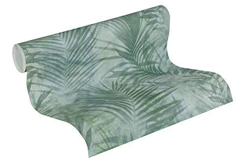 A.S. Création Vliestapete Neue Bude 2.0 Edition 2 Tapete Tropical Concret mit Palmenblättern 10,05 m x 0,53 m grün grau Made in Germany 374111 37411-1