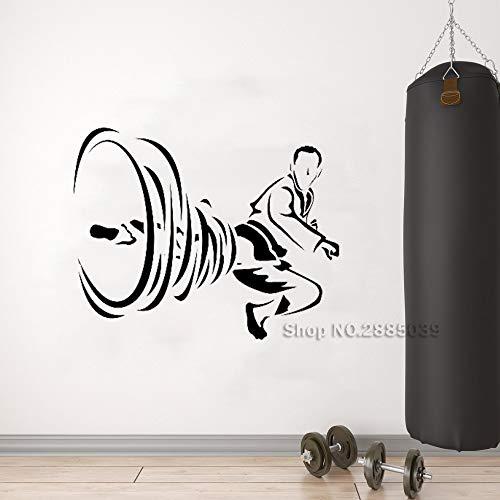 jiushivr Kunst Karate Kicking Japan Wandtattoo Sport Kampf Martial Vinyl Aufkleber Wirbelwind Bein Wandbild Wandaufkleber Für Schlafzimmer Dekor L 79x63cm