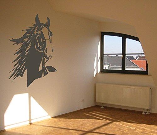 Wandtattoo - Pferdekopf mit Mähne - Reitsport - Tiermotiv - verschiedene Farben und Größen (M070 Schwarz, 860 mm x 600 mm)