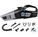 OZIO Car Vacuum Tire Inflator Portable Air Compressor with Digital Tire Pressure Gauge 6KPA Handheld Car Vacuum Cleaner with LED Light 12V DC Air Compressor Pump HEPA Filter (6500Pa)