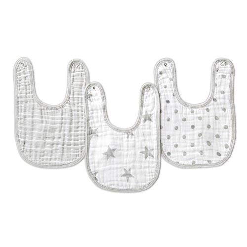 """Aden by aden + anais Snap Bib, 100% Cotton Muslin, Soft Absorbent 3 Layers, Adjustable, 9"""" X 13"""", 3 Pack, Dusty"""