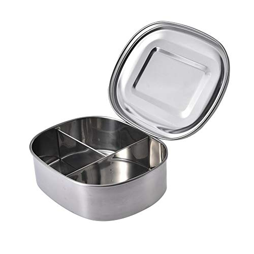 Niyin204 Rectangular Divided Bento Box Stainless Steel 1/2/3 Compartments Perfect for Adults Bento Box for Children Lunch at School Sandwich Outgoing