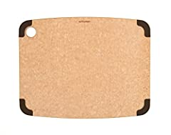 14. 5-Inch x 11. 25-Inch composite cutting board, Natural color, removable brown silicone corners; dual-sided cutting surface Modified natural material is lightweight, durable, nonporous, knife friendly and dishwasher safe, and easy to maintain; NSF ...