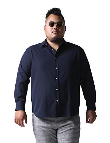 [白鯨(はくげい)]大きいサイズ 長袖ワイシャツ メンズ 日本人男性(平均171cm)が感激 ストレッチ カジュアル 2L ネイビー