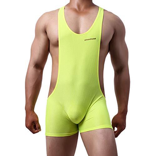 YUFEIDA Herren Athletic Supporters Mesh Atmungsaktive Bodysuit Wrestling Leotard Stretch Base Layers Boxer Singlet - Gelb - Large