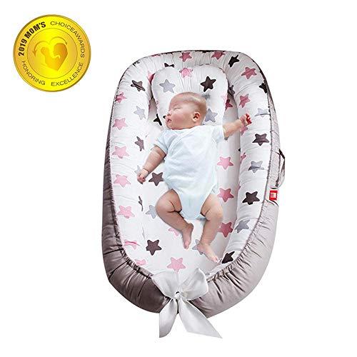 FOONEE Baby Lounger Nest, Cuna Portátil Y Moisés Dormir En Cama, Cojín para Tumbona Recién Nacido Súper Suave Y Transpirable Adecuado De A 12 Meses-Desmontable Y Lavable A Máquina