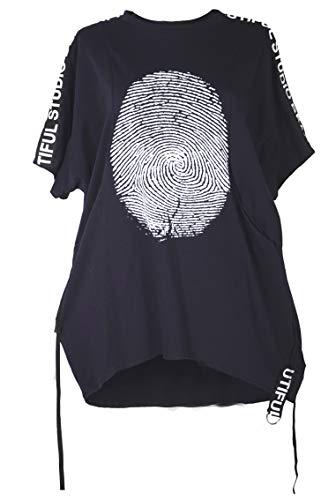 Damen Sommer Tunika Bluse Shirt Top 42 44 46 48 50 52 54 56 M L XL XXL 3XL Fingerabdruck Print Office Business Freizeit Party Lagenlook zu Leggings Hose Schwarz (48)