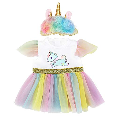 """ZWOOS Ropa para Muñecas bebé, Vestido de Unicornio con Diadema para 18\"""" Muñecas (40-45 cm)"""