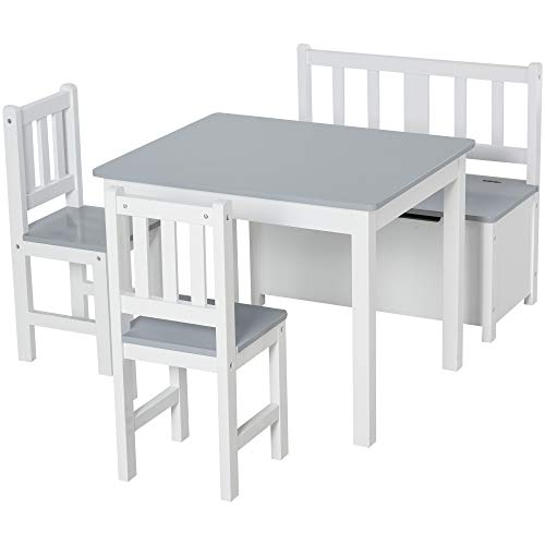 HOMCOM 4-tlg. Kindersitzgruppe mit Kindertisch Kinderstuhl Kinderbank Kindermöbel ab 3 Jahren Holz Grau