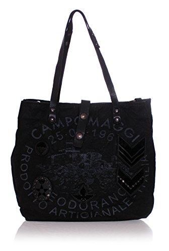 Campomaggi Canvas Shopper Handtasche Nero F0002 36x30x13cm (BxHxT)