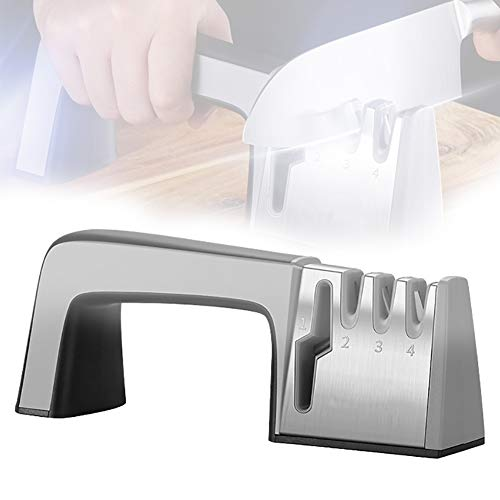 Ztong Knife Sharpener, Upgraded 3-Stage Kitchen Knife Sharpener, Professional Kitchen Chef 3 Slot Manual Sharpening Non-Slip Grip Easy use for Kitchen, Camping, Restore Your Dull Knife