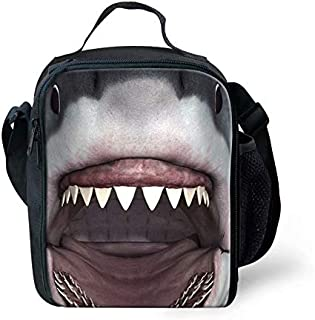 Great White Shark Insulated Lunch Bag for Boys School Cooler Bag Thermal Lunch Tote with Shoulder Straps