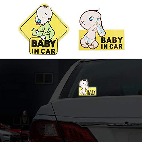 TOMALL 2 piezas pegatinas reflectantes de 5.5 pulgadas para bebé a bordo para coche niños advertencia de seguridad precaución fuerte reflexión para bebés en coche calcomanías para los coches ventanas