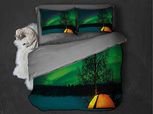 Toopeek Aurora Borealis 100% washed microfiber bed set Camping Tent under Magnetic Field Nature Picture Super soft and breathable duvet cover (Queen) Lime Green Dark Blue Earth Yellow