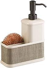 mDesign Dispensador de jabón recargable - Dosificador de jabón líquido - Con porta esponja - Color champaña