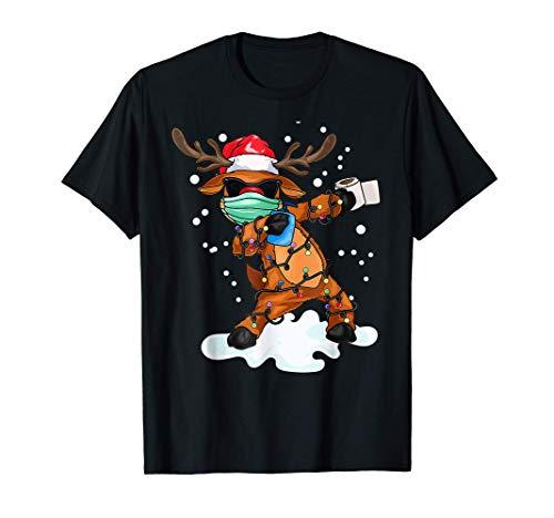 Dabbing Reno con máscara Luces del árbol de Navidad Camiseta