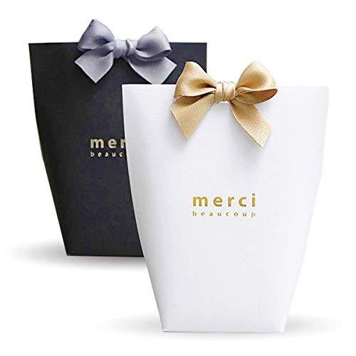 Yuecute - Cajas para caramelos cortadas a láser con cintas, para despedidas de soltera, bodas, fiestas, decoración de fiestas y Pascua, paquete con 20 unidades Big Negro y blanco.
