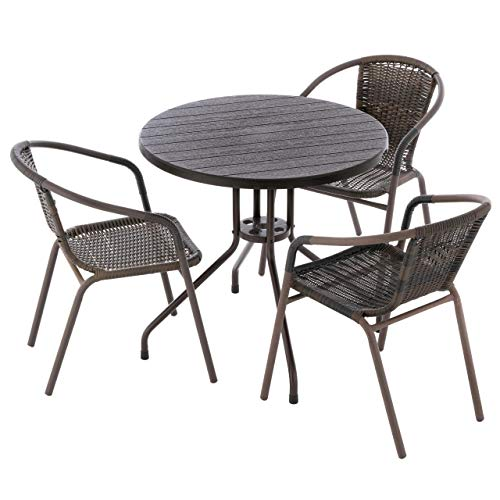 4er Bistroset Balkonset braun Sitzgarnitur Kunststoff-Tisch Ø 80cm + 3 x Bistrostuhl Poly-Rattan Gartenset Rattan-Set Gartenmöbel Terrassenmöbel