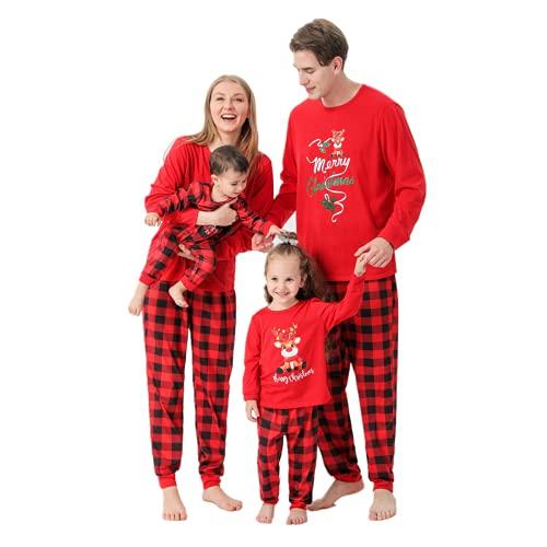 2021 Pijamas de Navidad Familia Conjunto Pantalon y Top Pijamas Mujer Hombre Invierno rojo impresión Traje de padres e hijos Manga Larga Ropa de Dormir 2 Piezas Niños Niña Bebés Mamá Papá Romper