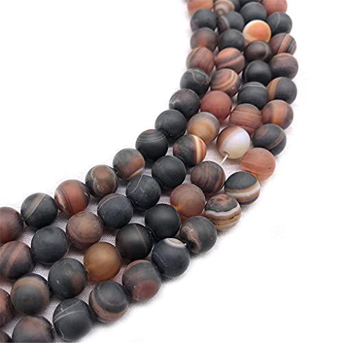 Cuentas de piedra natural mate esmerilado rayas ágata perlas 4/6/8/10/12 mm pulido opaco para hacer joyas de 35 pulgadas color sueño 8 mm aprox. 46 cuentas