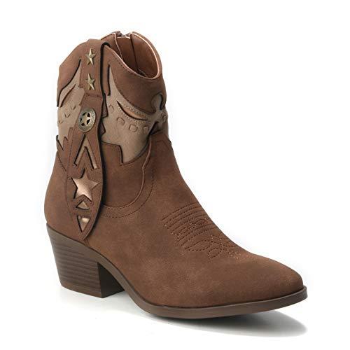 HERIXO Damen Schuhe Stiefeletten Cowboy-Stiefel Ibiza Indianer Western-Boots Reiter Mokassins Sommerstiefel Festival (38 EU, Camel)