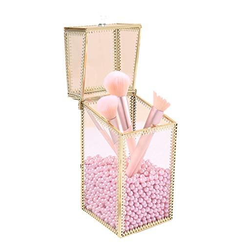 QHYY Transparente Aufbewahrungsbox Rechteck Glas Stifthalter für Make-up Pinsel Lippenstift