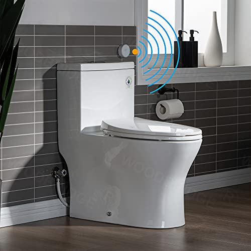 WOODBRIDGE B-0750-A Touchless, Dual Flush Elongated One Piece Toilet with Soft Closing Seat,Comfort Height,Water Sense,High-Efficiency,Rectangle Button, White