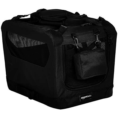 Amazon Basics – Transportín para mascotas abatible, transportable y suave de gran calidad, 53 cm, Negro