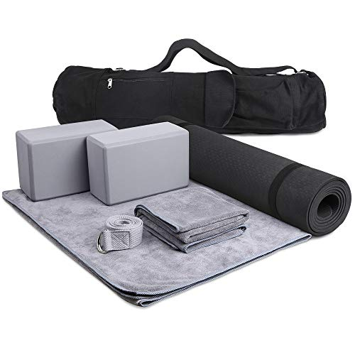 JBM Yoga Set 7 Piece - 1 Yoga Bag, 1 Yoga Mat with Carrying Strap, 2 Yoga Blocks, 1 Yoga Mat Towel, 1 Yoga Hand Towel, and 1 Yoga Strap with D-Ring Set for Yoga Starter Yogis (Gray, 7 Pieces)